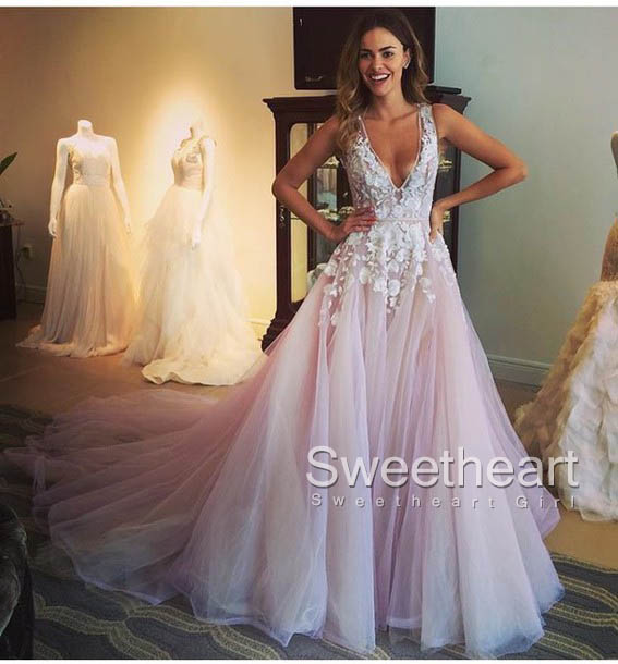 Sweetheart Girl | Unique v neck lace tulle long prom dress, evening ...