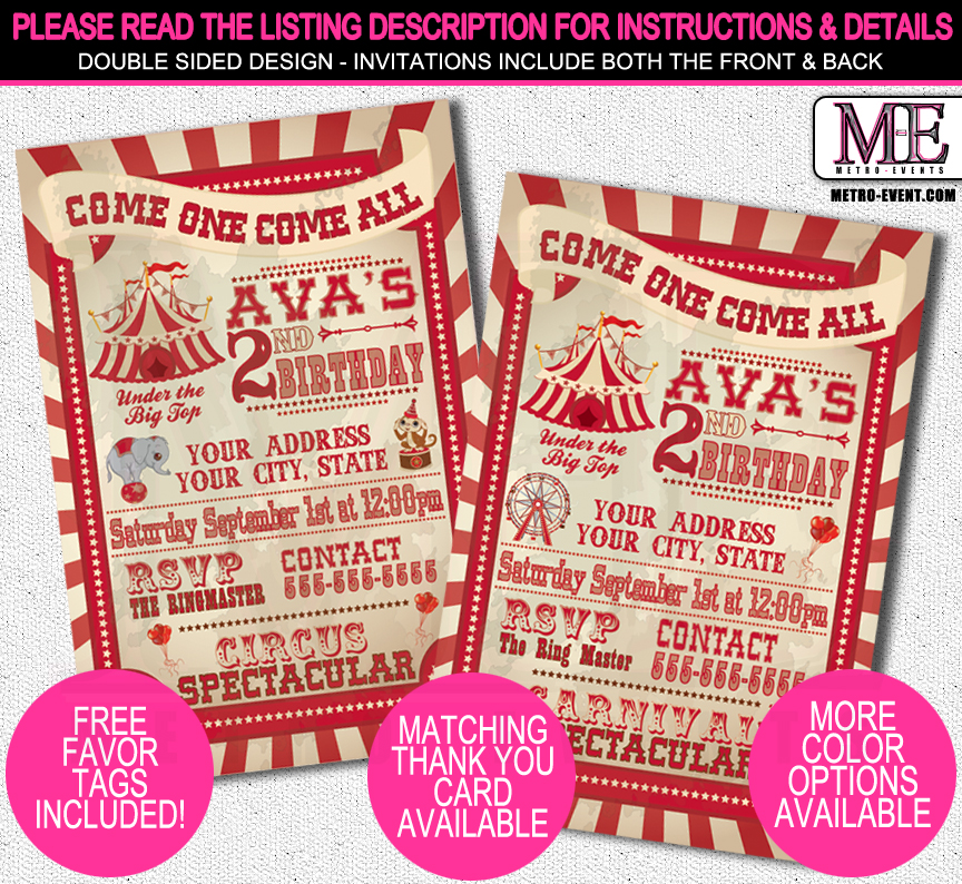 Vintage Carnival Birthday Invitations | Metro-Events Party ...