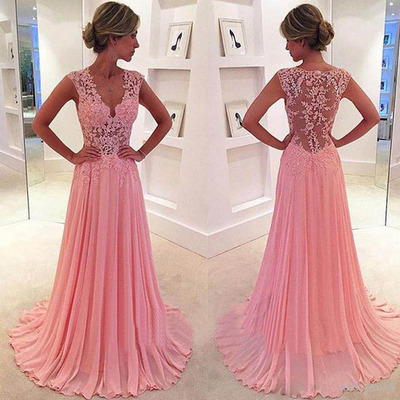 Peach prom dresses, lace prom dresses, long prom dresses, junior ...