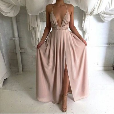 Long Backless Prom Dresses Sleeveless Simple Prom Dresses Discount