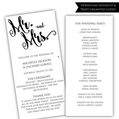 DIY wedding program - Printable program template - Rustic wedding ...