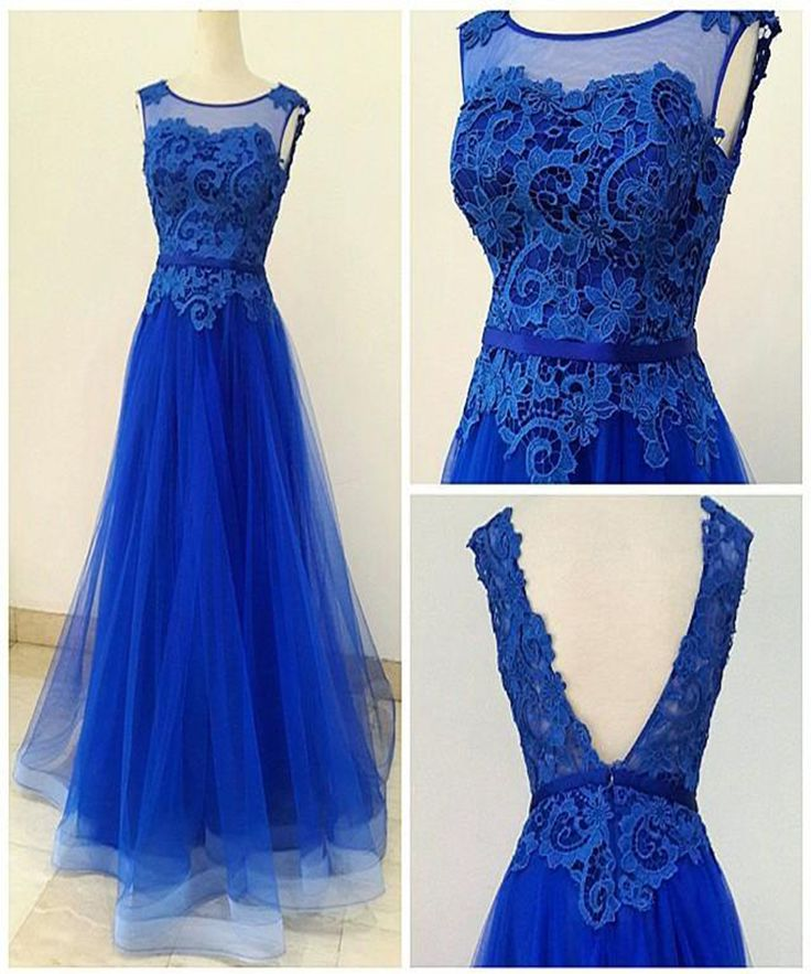 A Line Lace and Tulle Royal Blue Homecoming Dresses Prom Gowns ...