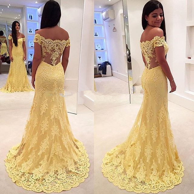 Lace prom dresses, sexy prom dresses, long prom dresses, yellow prom ...