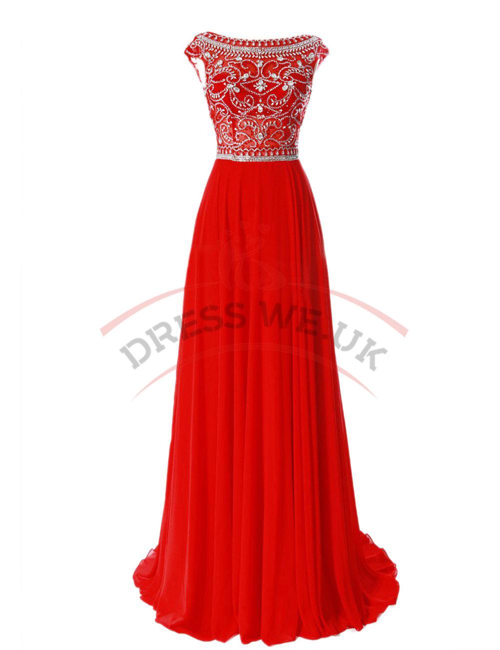 Elegant Red Prom Dresses,Floor Length Prom Dresses,Chiffon Prom ...