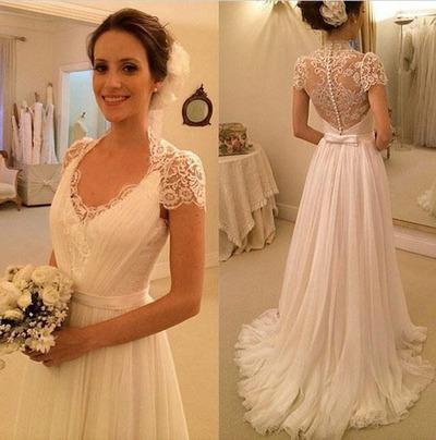 Elegant Short Sleeves Sheer Mermaid Lace Bridal Gowns vintage ...