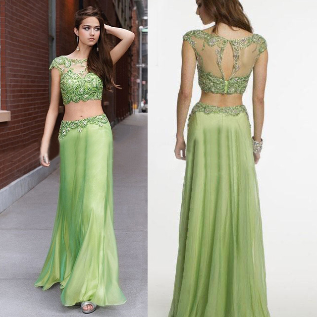 Cap Sleeve Embellished Chiffon Two Piece Prom Dress, Clover Green ...