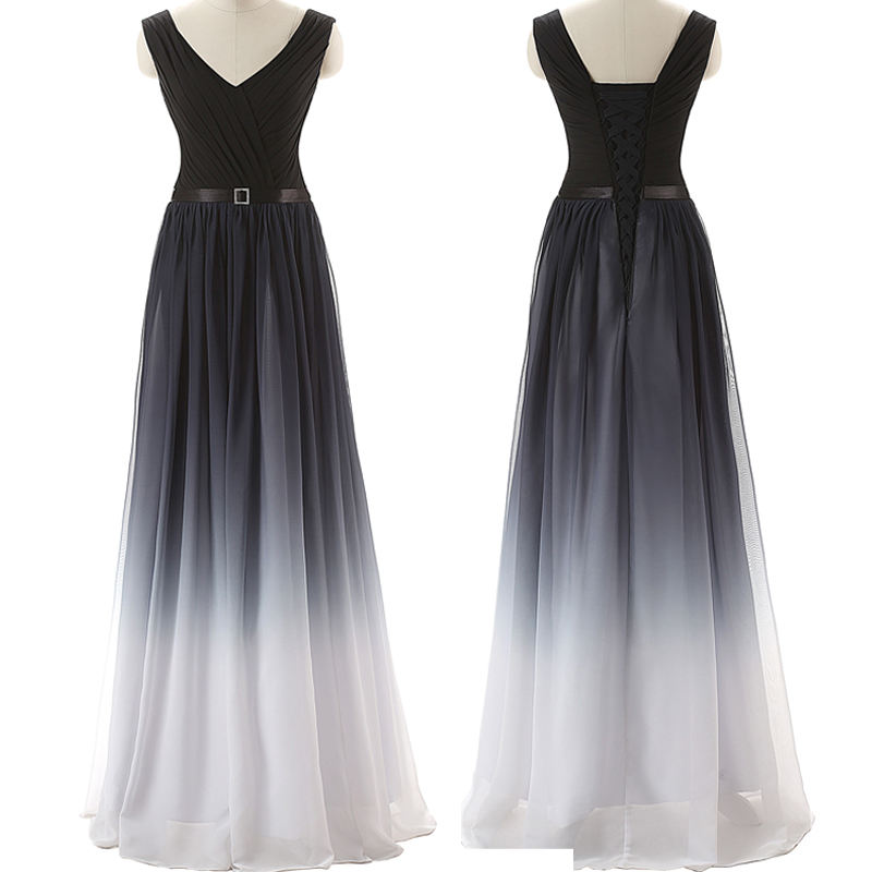 Black Navy Blue Ombre Prom Dresses With V Neck Long Evening Dress ...