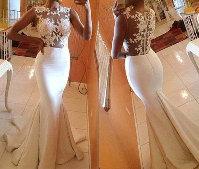 Pretty Handmade White Mermaid Prom Gown With Lace Applique, White ...