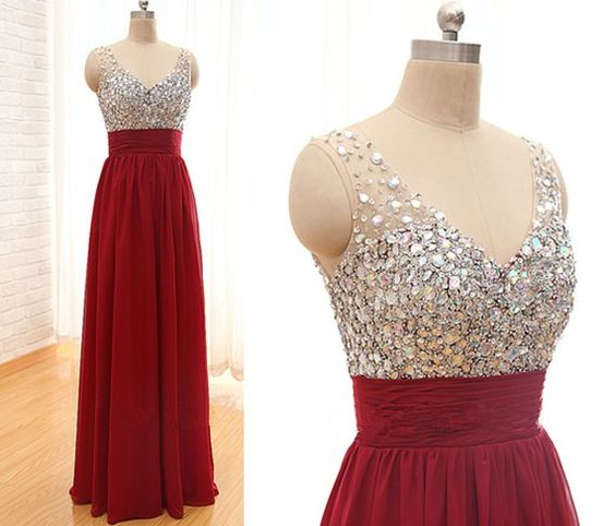 Pretty High Quality Beadings Wine Red Prom Dresses,Burgundy evening ...