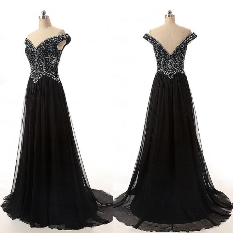 Classy Black A-Line Prom Dresses,V-Neck Prom Dresses,Chiffon Prom ...