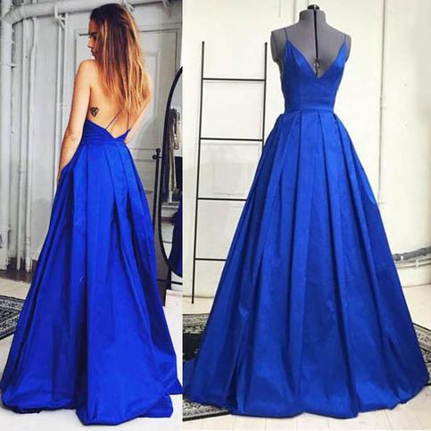 Royal Blue Plunge V Neck Prom Dresses Sexy Prom Dresses