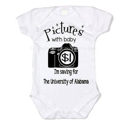 Pictures with baby - $1 - college baby onesie