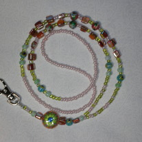Beaded Lanyard Green/Pink Cloisonne