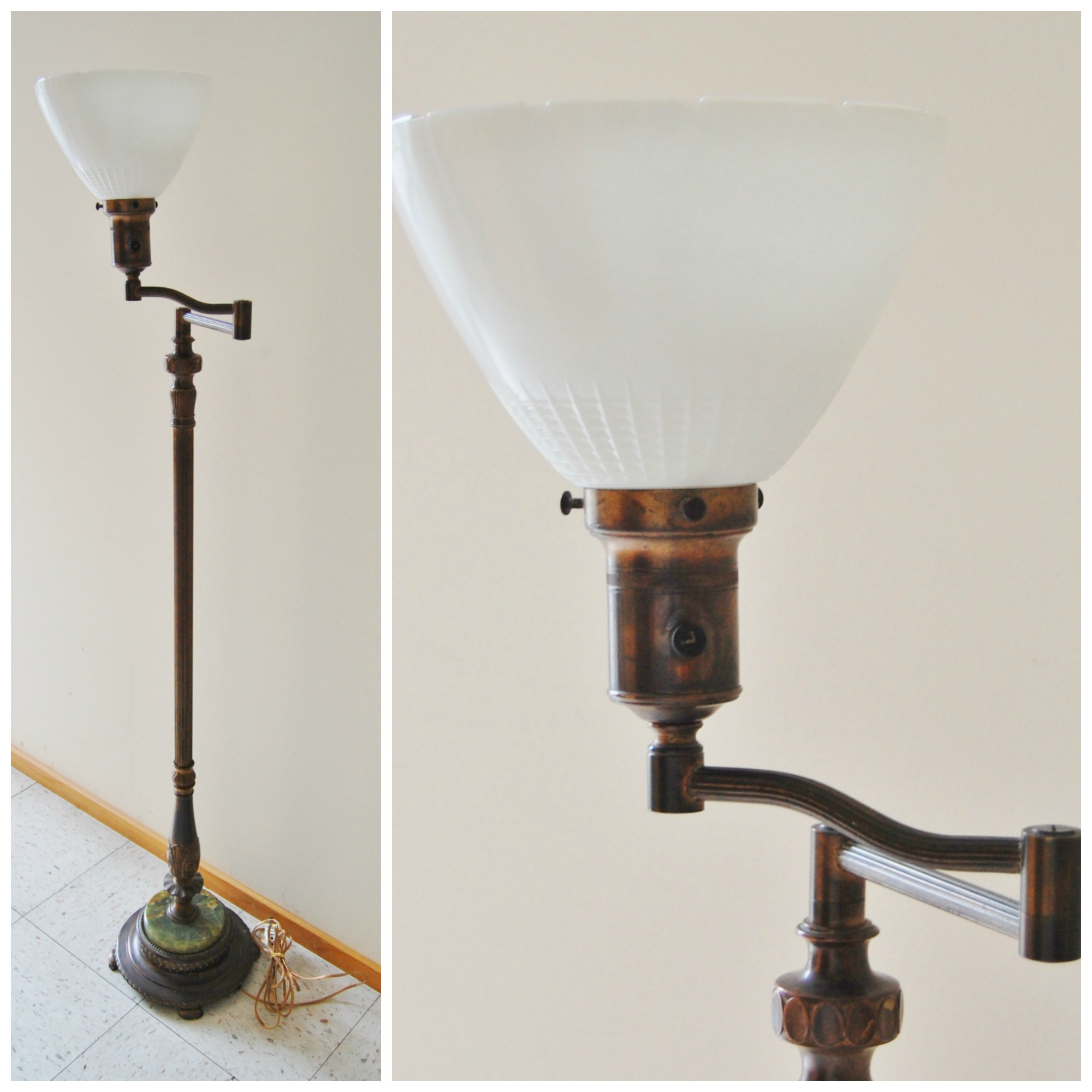 art deco cast iron marble base floor lamp marinus home online. Black Bedroom Furniture Sets. Home Design Ideas