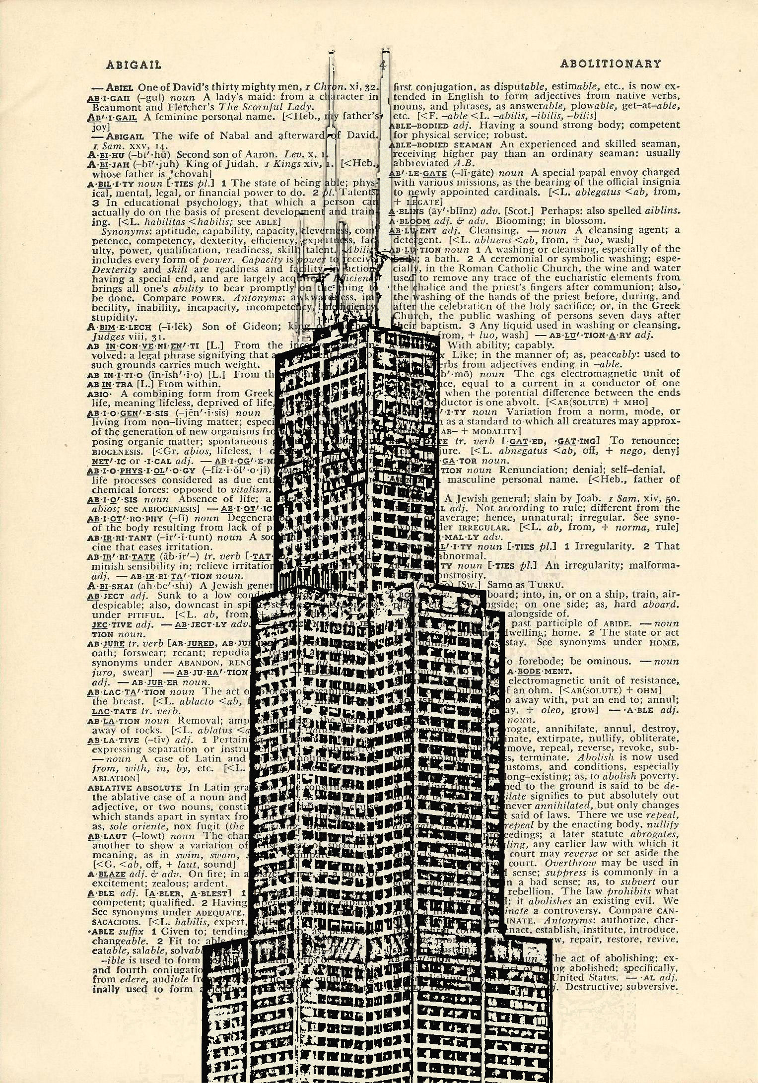 Sears tower chicago dictionary art vintage building for Building dictionary