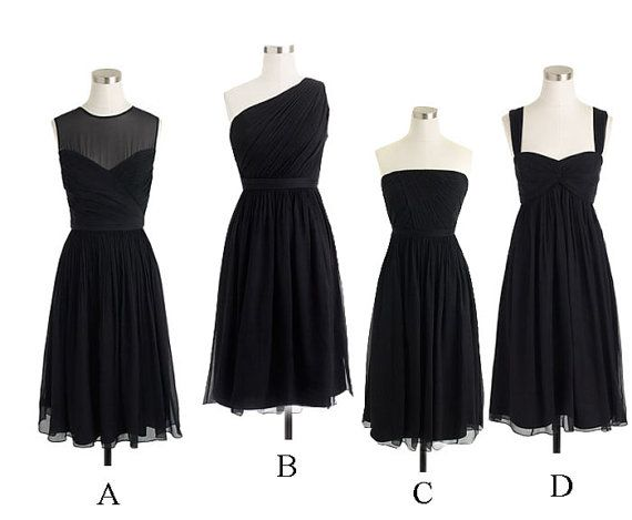 Four Styles Black Short Knee Length Beautiful Chiffon A Line