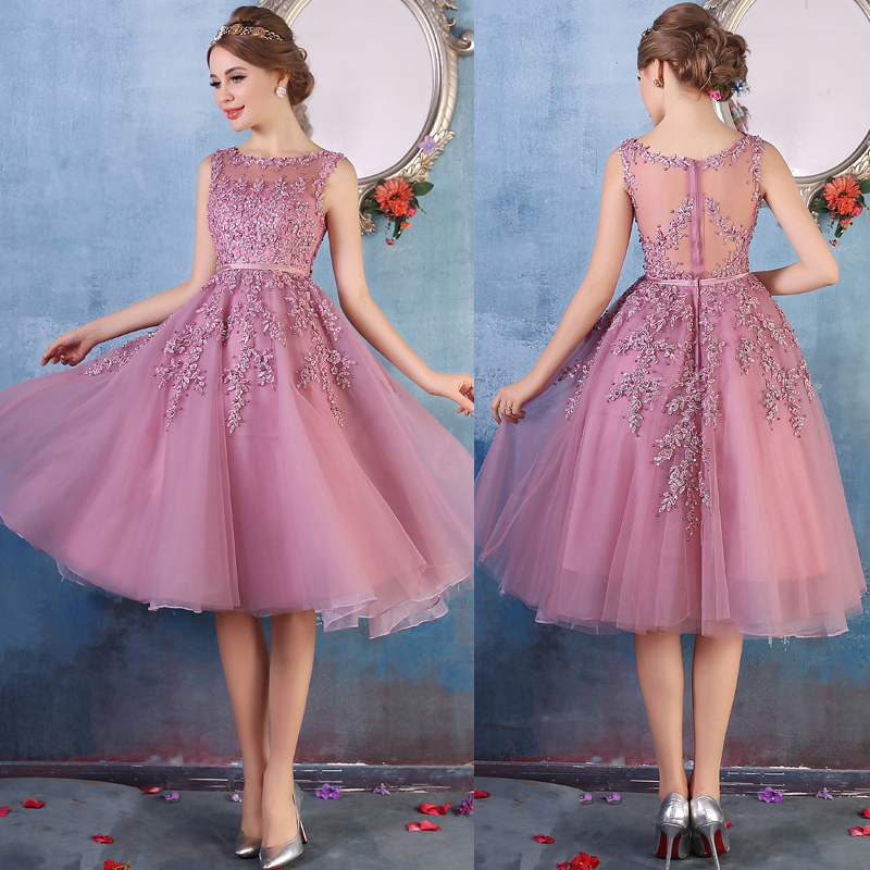 Newest Short Purple Prom Dress, Illusion Homecoming Dress with Lace ...