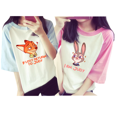 M-2xl cutie couple nick and judy loose t-shirt sp166126/sp166127