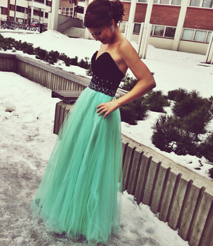 Black And Green Prom Dress Sweetheart Neckline Evening Party Dresses ...