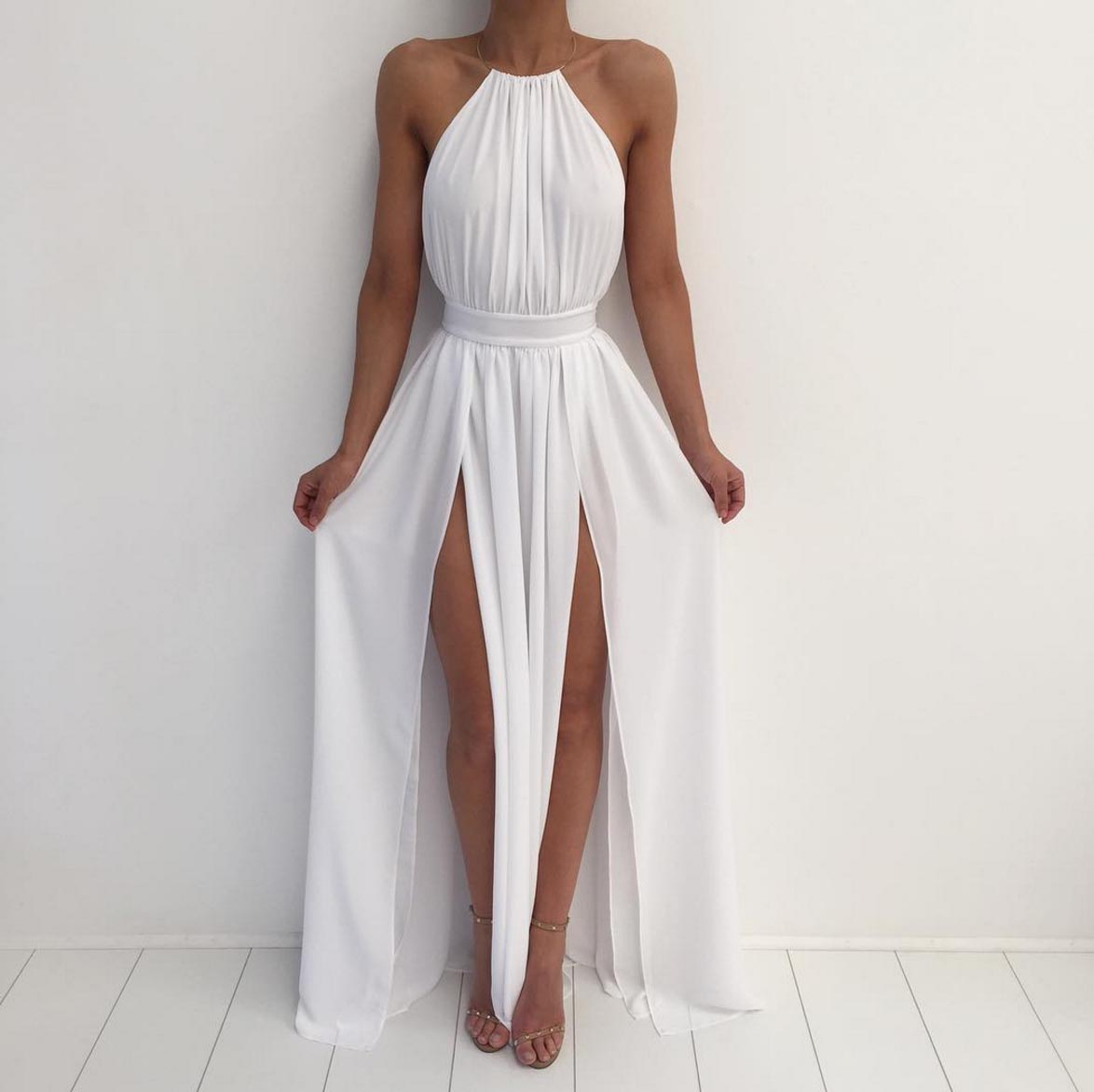 Sweetheart Girl | Simple A-line backless long white prom dress for ...