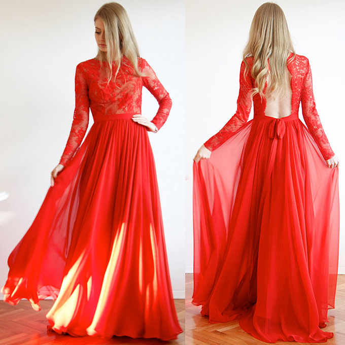Long Sleeve Red Prom Dresses, Trendy Open Back Prom Dresses, Scoop ...