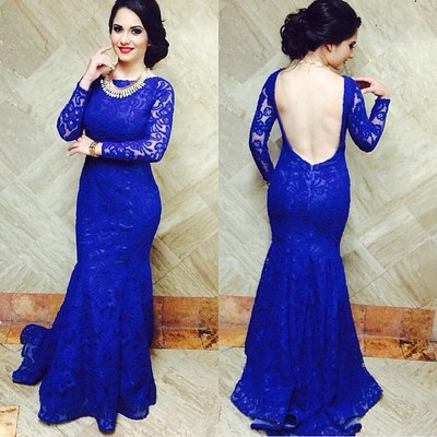 royal blue lace long prom dress with long sleeves,backless cheap ...