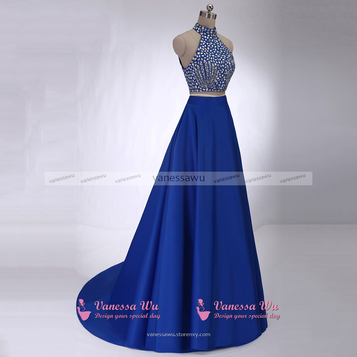 Crystal Beaded High Neck Prom Dresses, Royal Blue Crop Top Prom ...