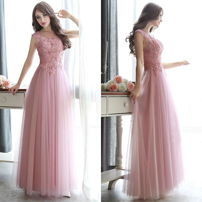 Pink Open Back Long Prom Dresses