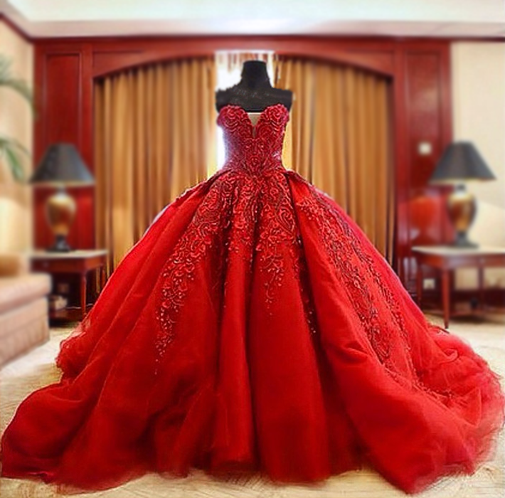 Luxury Ball Gown Wedding Dresses,Beaded Wedding Dresses,Red Wedding ...