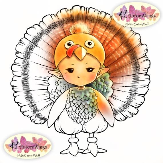 Happy Thanksgiving Turkey Sprite Digital Stamp