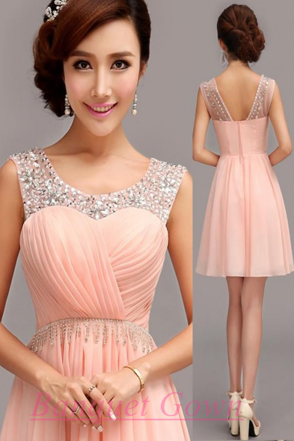 Blush Pink Simple Homecoming Dresses Sparkle Homecoming Gowns Short ...