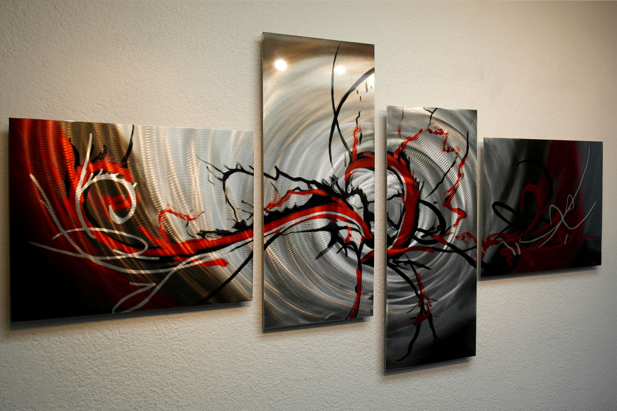 Basilisk in red 67 x 34 metal wall art abstract for Red metal wall art