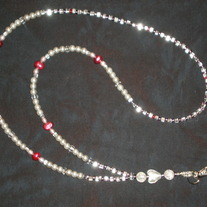 Beaded Lanyard Clear/Violet/Red