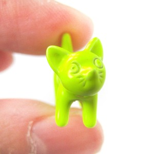 Adorable Fake Gauge Earrings Kitty Cat Animal Stud Earrings in Neon Yellow