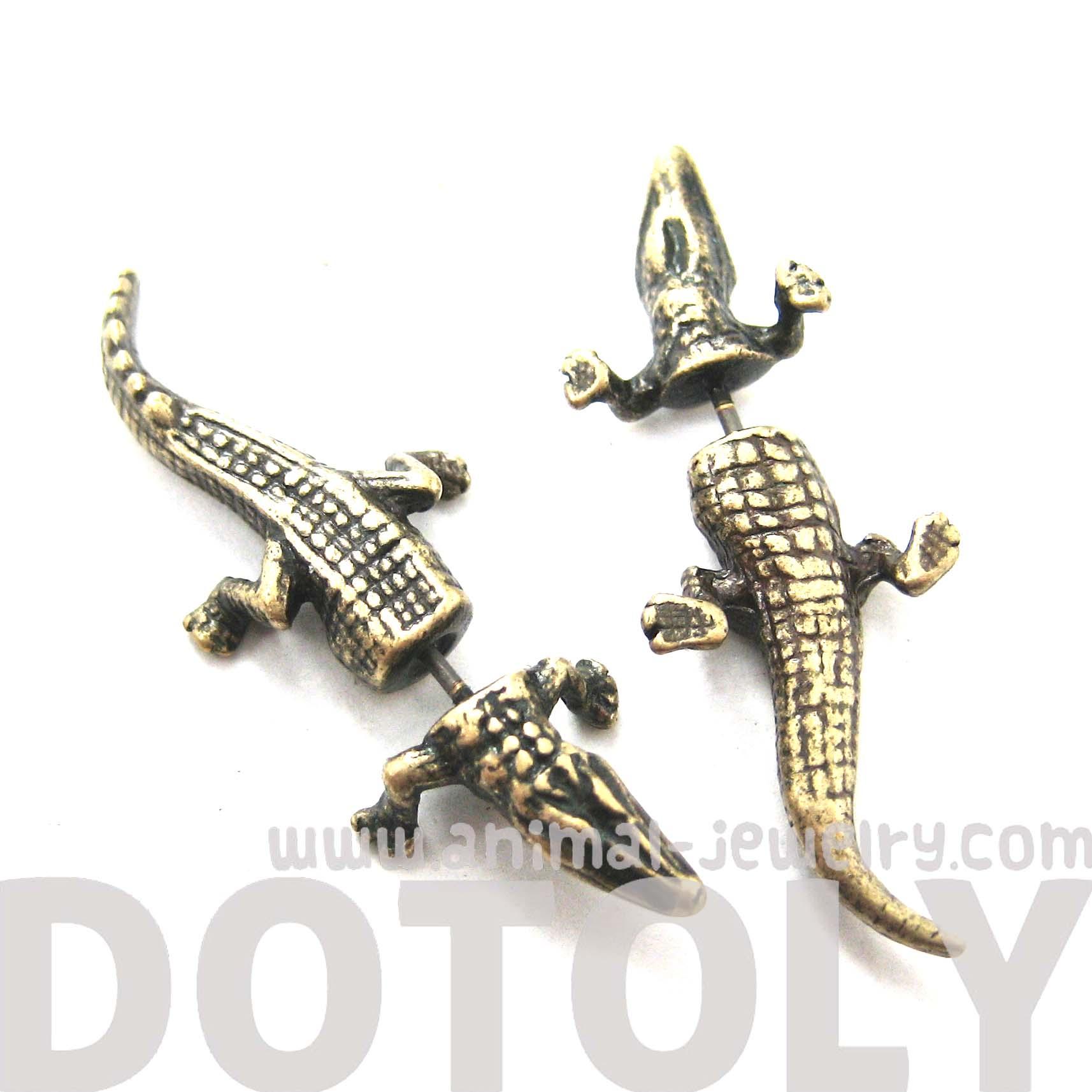 Fake Gauge Crocodile Alligator Animal Stud Earrings In Brass   Thumbnail 3