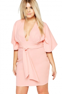 Belted Plus Size Kimono Dress from KURVV