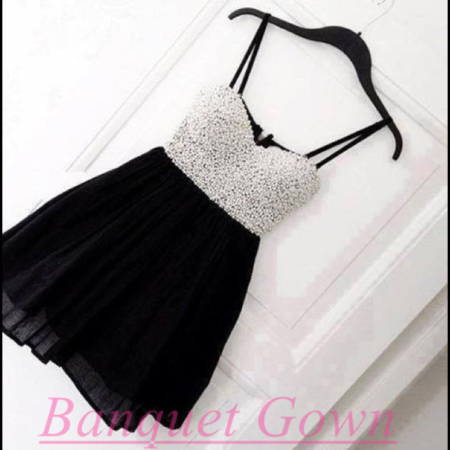 Cute Black Homecoming Dress with White Beadings, Black Homecoming ...