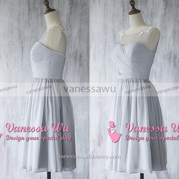 Illusion Short Bridesmaid Dress, Light Gray Bridesmaid Gown with ...