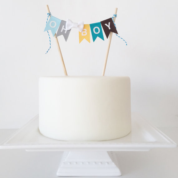 Boy Baby Shower Cake Topper Birthday Cake Bunting Smash Cake