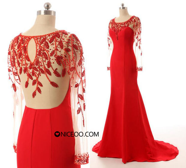 Gorgeous Red Scoop Neck Sweep Train Chiffon prom dresses with Beaded