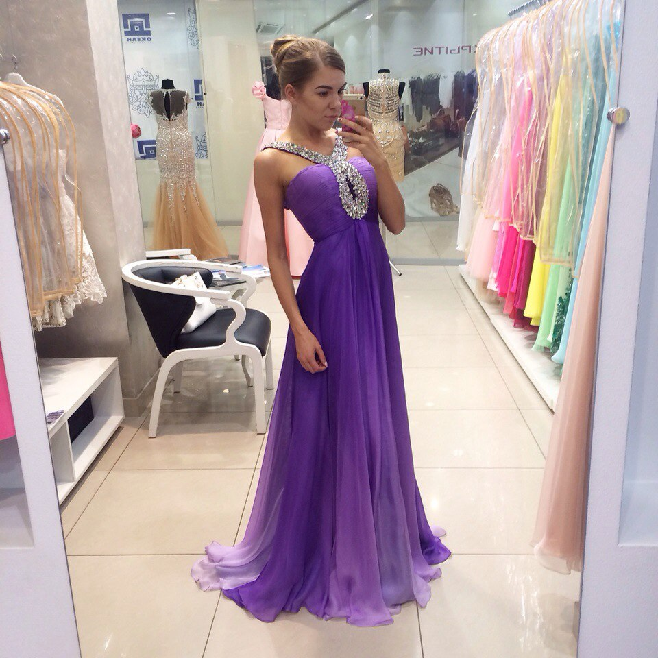 Hot Sale Long Prom Dresses With Pleat Hand Beading Chiffon Prom