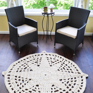 Compass Star Rug - Nautical Rope Rug - Coastal Decor - Beach Decor