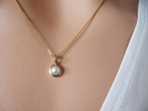Simple white gold pearl pendant bridal jewelry solid 14k gold simple white gold pearl pendant bridal jewelry solid 14k gold valentines day gift aloadofball Image collections