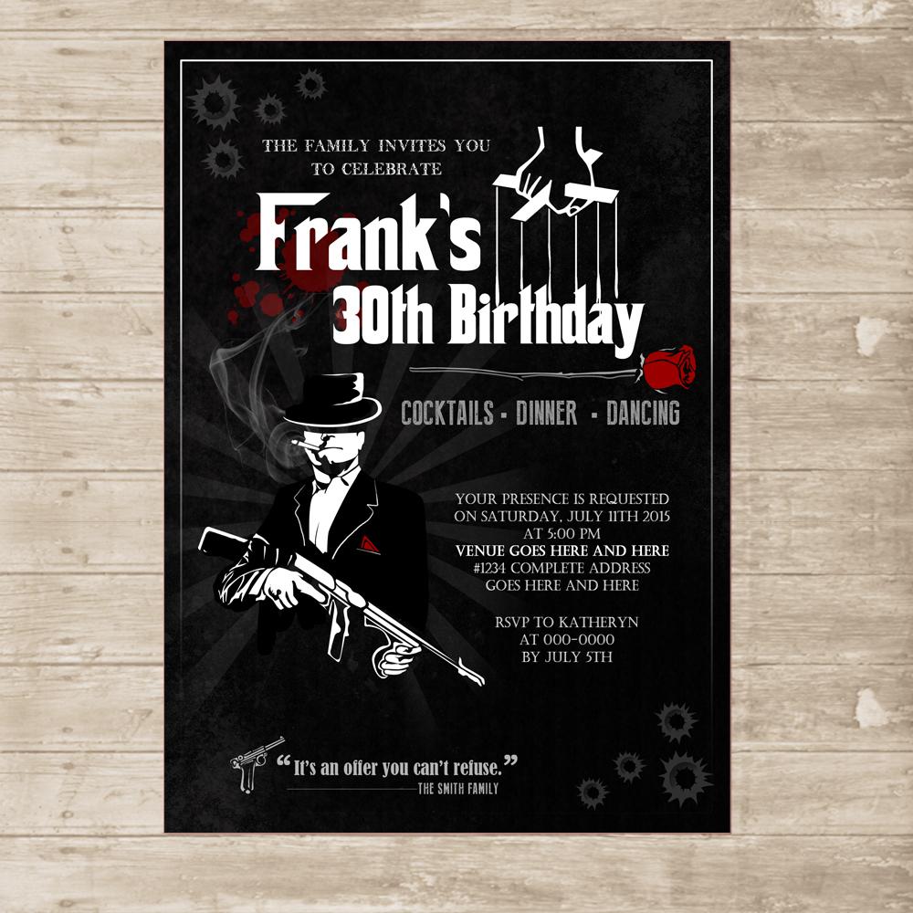 Mafia Invitation Mobster Gangster mob Invite for men Godfather – Gangster Party Invitations