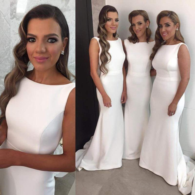 White Bridesmaid Dress,Simple Design Sleeveless Bridesmaid Dress ...