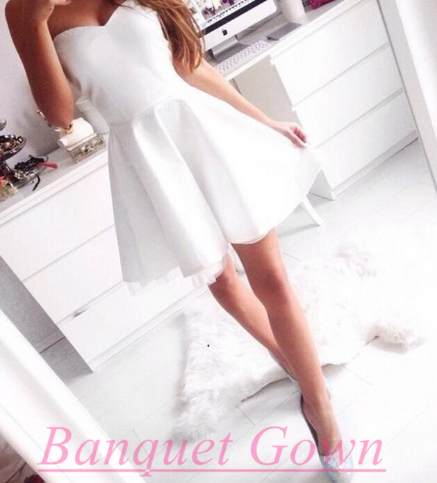 Simple White Homecoming Dresses,Cute Short Prom Dresses,Cheap Prom ...