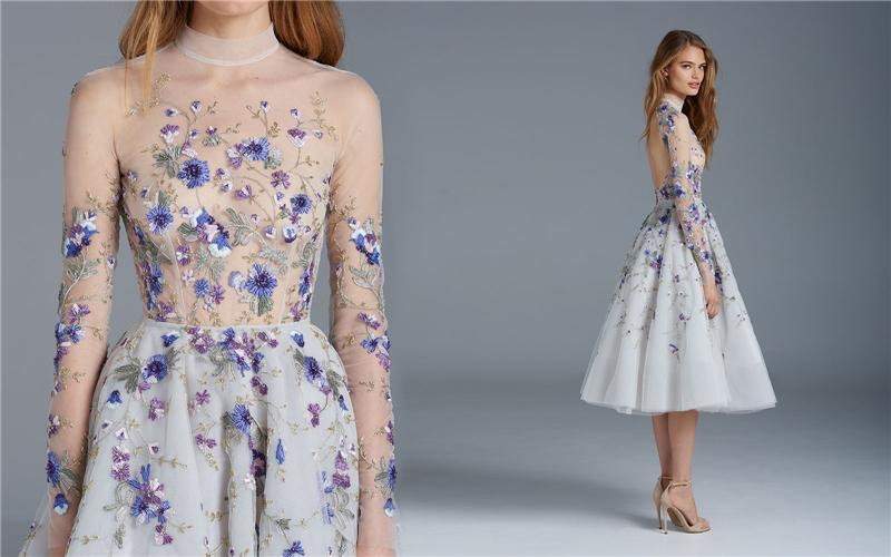 Prom Dresses Long Sleeves Flower Embroidery Tea Length