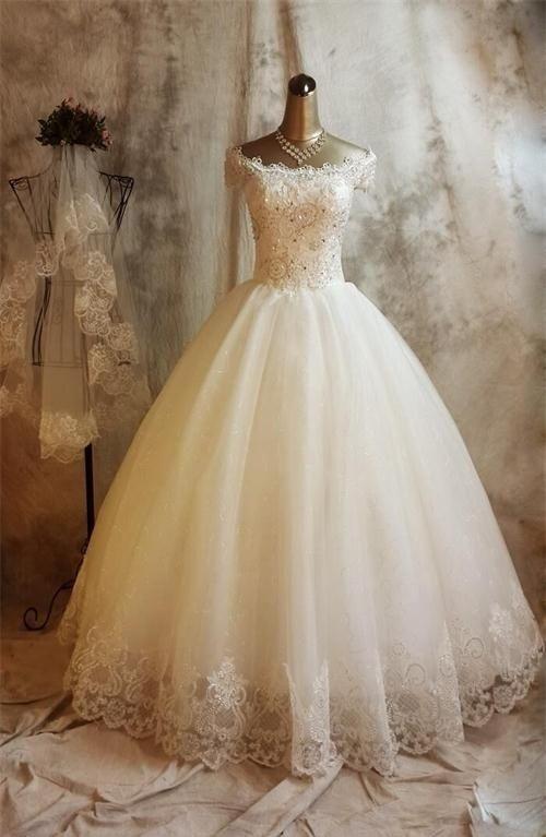 Wedding dress,bridal gown,lace wedding dress,cap sleeve wedding ...