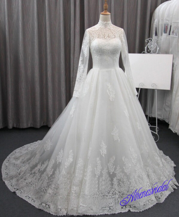 High neck wedding dresses, elegant lace wedding dresses, long ...