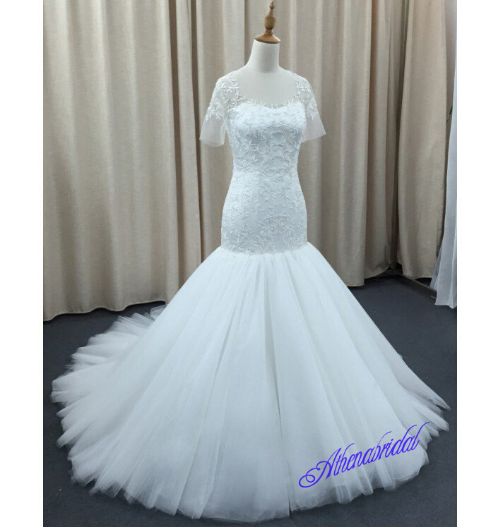 White wedding dresses, beading applique wedding dresses, long ...